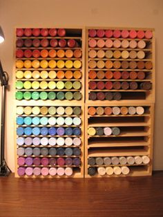 Love the idea for the acrylic paint storage! It's more aesthetically pleasing than anything I would ever Love the idea for the acrylic paint storage! It's more aesthetically pleasing than anything I would ever paint. Acrylic Paint Storage, Craft Paint Storage, Paint Organization, Diy Storage, Storage Boxes, Storage Shelves, Spray Paint Storage, New Crafts, Home Crafts