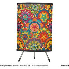 Funky Retro Colorful Mandala Pattern Tripod Lamp ($50) ❤ liked on Polyvore featuring home, lighting, multicolor lights, multi color lights, multi color lamp, flower lamp and flower stem