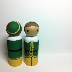 Buddy the Elf Pegbuddies peg doll wooden doll hand by PegBuddies Woodworking Christmas Gifts, Christmas Crafts For Gifts, Christmas Ornament, Ornaments, Woodworking Tools For Sale, Woodworking Patterns, Youtube Woodworking, Woodworking Clamps, Wood Peg Dolls