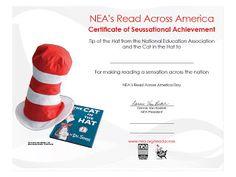 Read Across America Dr Seuss Certificate