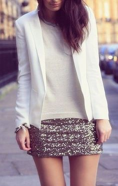 Holiday party look: silver sequined skirt + white blazer