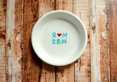 Ring Dish  Couple's Initials and Wedding Date by WithThisDish, $22.00