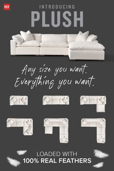 Ensure you and your guests have the best seat in the house with the illustrious bliss o Comfy Sectional, Deep Sectional, White Sectional, Living Room Sectional, Living Room Seating, My Living Room, Living Room Furniture, Comfy Couches, Contemporary Couches