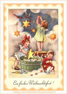 Cartolina di Buon Natale tedesca con angeli e stelle dorate. -- Postcard of Merry Christmas with angels and golden stars. -- #cartoline #d'epoca #antiche #natale #cards #postcards #vintage
