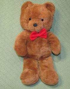 "Vintage 1986 HONEY JO DAKIN Fun Farm Teddy Bear Brown 20"" Plush Stuffed Red Bow #Dakin Basement Master Bedroom, Vintage Toys, Honey, Plush, Teddy Bear, Bows, Red, Animals, Animales"