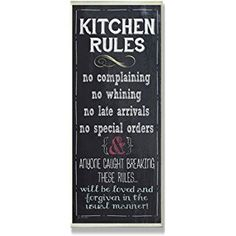The Stupell Home Decor Collection Kitchen Rules Chalkboard Look Wall Plaque