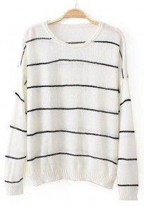 White Striped Print Long Sleeve Sweater