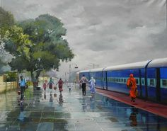 A ticket examiner captures the beauty of Indian Railways in these colourful paintings. By Bijaya Biswal, Train Ticket Examiner in Nagpur division of the Indian Railways Indian Art Paintings, Colorful Paintings, Beautiful Paintings, Indian Artwork, Om Namah Shivaya, Watercolor Landscape Paintings, Watercolor Paintings, Watercolors, Watercolor Animals