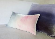 "Pale pink and dove gray ombre painted velvet pillow cushion cover, Made to order UK 12"" x 20"" (30cm x 50cm) by Colorbloom on Etsy"