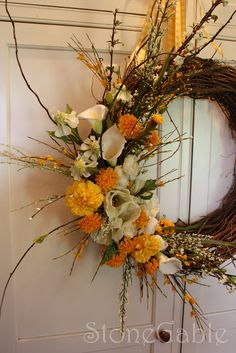 StoneGable: Bridal Wreaths-I never thought of cala lilies in a wreathe, but this is really beautiful
