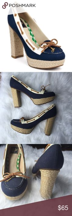 Milly for Sperry espadrille heels in navy Excellent used condition Milly for Sperry espadrille heels in navy. Minor signs of wear seen in photos Sperry Top-Sider Shoes Espadrilles