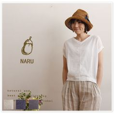 【NARU ナル】コットン デザイン Vネック 半袖 プルオーバー ブラウス (621810)