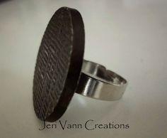 Black Vintage Button Ring