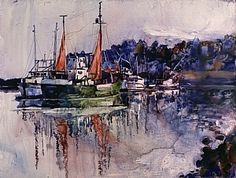 Red Sails by artist Kim Stenberg. #watercolor #painting found on the FASO Daily Art Show -- http://dailyartshow.faso.com