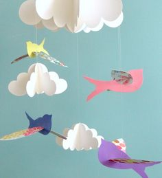 Bird Mobile Baby Mobile Birds and Cloud Mobile by goshandgolly, $43.00