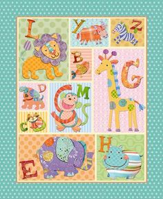1 Panel Quilt Fabric Alphabet Zoo Animal Fabric Kids Bedding Elephants | auntiechrisquiltfabric - Craft Supplies on ArtF