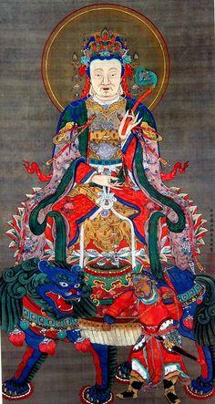 Jyakutyu Ito 釈迦三尊像  文殊菩薩 Shaka Sanzon-zo(Shaka Triad) 三幅のうち一幅 明和二年(1765)以前 京都・祖国寺