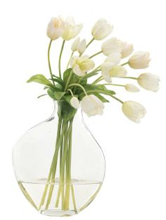 Tulips, white, glass, odd bubble. Simple but effective.