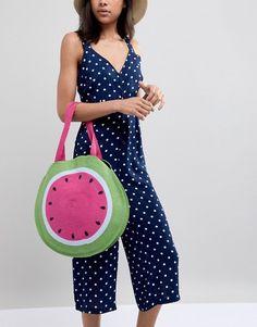 Watermelon Print Circle Shopper Bag - fun in the sun - beach and casual  style 1abf7e70ef63