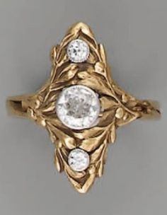 Antique Jewelry An Art Nouveau gold and diamond ring. Gold Jewelry For Sale, Mens Gold Jewelry, Clean Gold Jewelry, Gold Rings Jewelry, Golden Jewelry, Gold Jewellery Design, Jewelry Art, Jewellery Earrings, Quartz Jewelry
