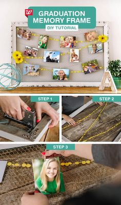 Show off your graduate's best moments with this DIY memory board. 1) Cut chicken wire to the dimensions of your chosen frame. 2) Use a staple gun to affix the wire to the back of the frame. 3) Arrange a confetti garland in a zig-zag pattern across the frame. Use fishing wire to tie the garland to the chicken wire. 4) Cut three strands of string slightly longer than the width of the frame, then hang them in rows, leaving them hung loosely in a swooping pattern. Use mini clothespins to hang ph...