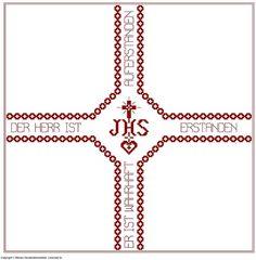Weihkorbdecken Zählvorlage - Weihkorbdecken - Themen Free Pattern, Diy And Crafts, Quilling, Cross Stitch, Symbols, Letters, Embroidery, Crochet, Cross Stitch Samplers