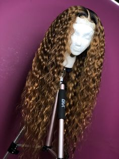 Curly Full Lace Wig with Baby Hair Ombre Color Human Hair Lace Front Wigs Pre-Plucked Hairline - Full Lace Wigs - Human Hair Lace Wigs My Hairstyle, Wig Hairstyles, Frontal Hairstyles, Casual Hairstyles, Medium Hairstyles, Black Hairstyles, Human Lace Wigs, Best Human Hair Wigs, Human Wigs