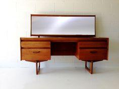 mid century modern desk vanity table in teak with by dsartereno