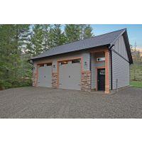 Detach Garage Hardi Plank Siding With Cedar Wred Doors Post And Black Trim