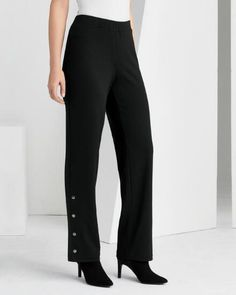 Snap to It Knit Pant -- Flattering, easy-fit women's pant with metallic snap accents.