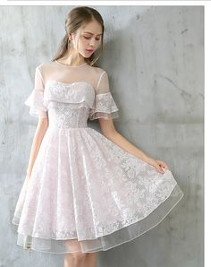 Cute White Lace Homecoming Dress,Short Sleeves Short Prom Dress,Tulle Party Dress on Luulla Simple Homecoming Dresses, Cute Prom Dresses, Tulle Prom Dress, Pretty Dresses, Dress Up, Short Sleeve Dresses, Tulle Lace, Pink Tulle, Dress Lace