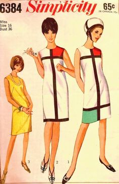 MISSES' ONE-PIECE DRESS: Sleeveless sheath dress with high round neckline has back zipper. V.'s 1 & 2 have ribbon and contrasting fabric trim. V. 1 has two contrasting trim insets. V. 2 has one contrasting trim inset.