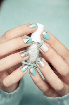 Light blue and silver nail art design
