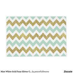 Mint White Gold Faux Glitter Chevron Stripes Laminated Place Mat