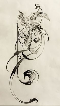 phoenix tattoo with music notes/staff?
