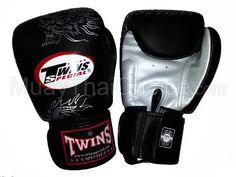 Twins Muay Thai Boxing Gloves : Black / Silver Dragon