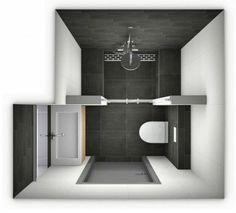 plan salle de bain 3m2, petite surface salle de bain en blanc et noir