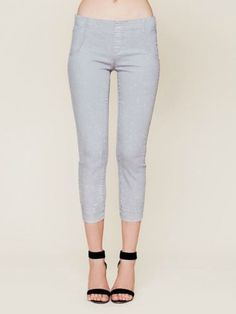 Free People NEW Gray Low Rise Skinny Ankle Cropped Pull-On Jeans, Size 24