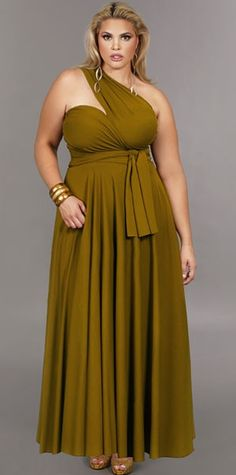 """Marilyn"" Long Convertible Dress - Olive"