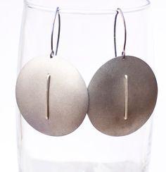Titanium grey round earrings, unique jewelry from Arpelc Blue Titanium Jewelry by DaWanda.com