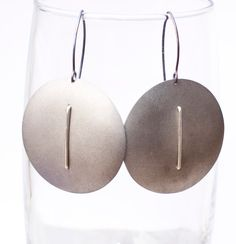 Titanium grey round  earrings, unique jewelry from Arpelc Blue Titanium Jewelry by DaWanda.com