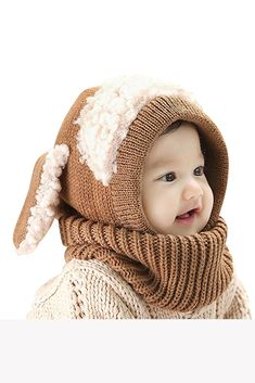 Baby Hat With Scarf Toddler Winter Beanie Warm Hat Hooded Scarf Earflap Knitted Cap Cute Cartoon Kids Hat Scarf Set Crochet Baby Cap, Bonnet Crochet, Kids Winter Hats, Kids Hats, Baby Hut, Boys Beanie, Baby Scarf, Scarf Hat, Sweater Scarf