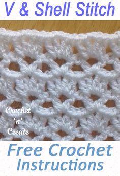 Crochet Shell and Vst Pattern Written Tutorial - Crochet 'n' Create Crochet Crafts, Easy Crochet, Crochet Projects, Diy Crafts, Tape Crafts, Crochet Baby Shawl, Crochet Instructions, Tutorial Crochet, V Stitch