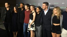 Andrew Kreisberg, Audrey Marie Anderson, David Ramsey, Grant Gustin, Danielle Panabaker, Carlos Valdes, Stephen Amell and Emily Bett Rickards at 'The Flash Vs. Arrow'/ 'The Brave & The Bold' crossover event screening at The Crest Theatre, Westwood, Nov.…