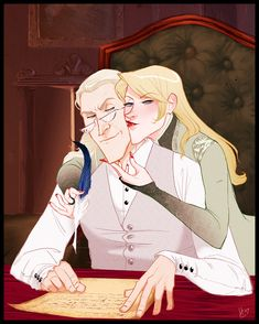 """Makani. Her caption: """"Here's Lucius and Narcissa performing their presumed occupations: Lucius is writing some governmental letter/threat/bribe, and Narcissa is getting Lucius to do what she wants."""""""