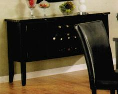 "Server Sideboard with Marble Top and Wine Rack in Black Finish by Acme Furniture. $364.00. Black color finish. Faux Marble Top. Wine Storage. Durable and stylish construction. Dimension: 56""W x 18""D x 34""H Finish: Black Material: Wood, Faux Marble Server Sideboard with Marble Top and Wine Rack in Black Finish Wine rack in center and can hold up to 9 bottles. Black faux marble table top. Two cabinets for storage. With clear lines design. Also available in ivory faux... Acme Furniture, Dining Room Furniture, Dining Bench, Wine Storage, Marble Top, Line Design, Home Kitchens, Liquor Cabinet, Buffets"
