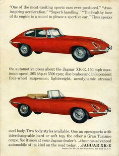 1963 Jaguar XK-E Gran Turismo Coupe and Sports Roadster