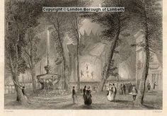 Date : c.1820  Acrobats entertaining the public at Vauxhall Gardens, with the Fountain in the foreground and the Temple on the right.  Engraving by C.Mottram, drawn by C.Marshall, c.1820