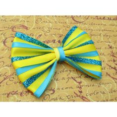 The little Mermaid hair bow Flounder hair clip disney inspired ariel... ($8) ❤ liked on Polyvore featuring bows