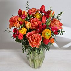 Springtime Sunset Bouquet With Free Express Delivery - From Lakeland Valentine Treats, Valentines, Flower Delivery, Pretty Flowers, Spring Time, Floral Wreath, Greeting Cards, Bouquet, Bloom